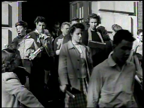 Students exiting building down stairs MS Yearbook 'Class of 1938' CU Photograph 'W Warren' Maryland