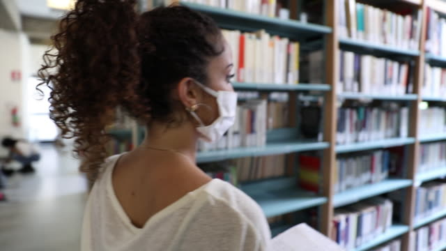 students focused on the study in a public library - bookshelf stock videos & royalty-free footage