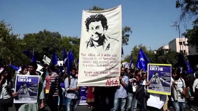 students from different indian universities are taking part in rallies in the indian capital following the death of hyderabad university dalit... - dalit stock videos and b-roll footage