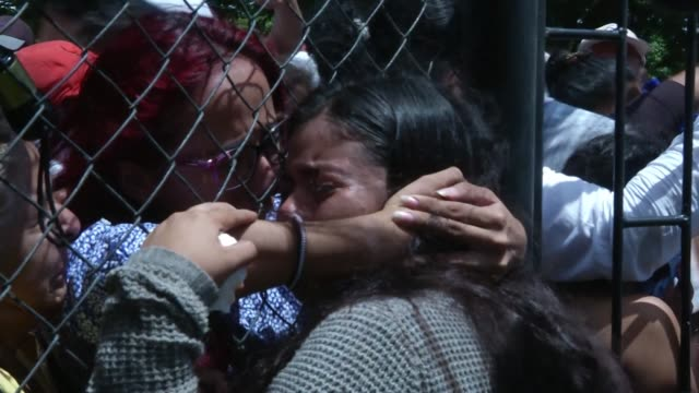 students from the national autonomous university of nicaragua reunite with their loved ones after a night spent taking refuge in the church of the... - nicaragua stock videos & royalty-free footage