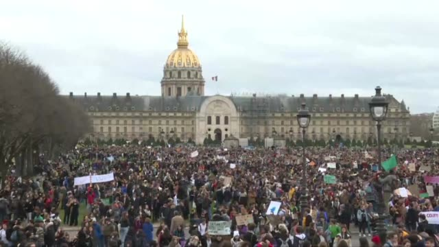 students gather in their thousands at the invalides and champ de mars in paris answering like the youth in dozens of countries around the world a... - climate stock videos & royalty-free footage