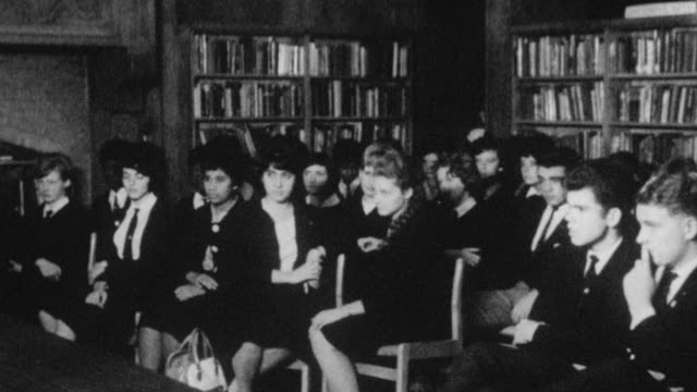 1962 pan students gathered for the debating society at holland park school / kensington, london, england - debate stock videos & royalty-free footage