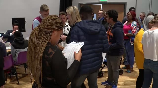 students get gcse results amid biggest shake up in years england west midlands birmingham ark kings academy int various of students collecting their... - gcse stock-videos und b-roll-filmmaterial