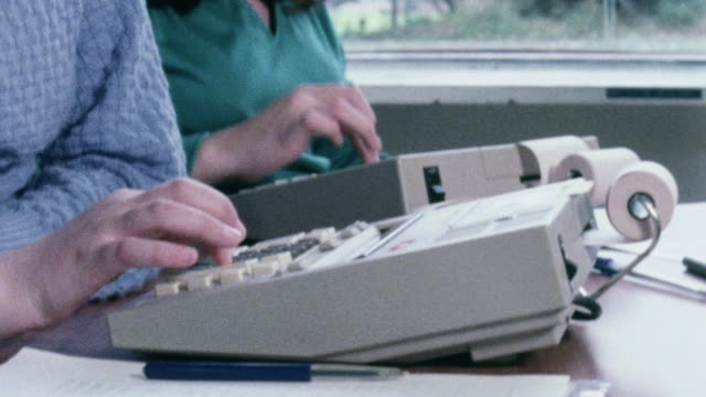 montage students handling orders, suppliers, duplicating, and corresponding while working in a school training office / united kingdom - 1982 stock videos & royalty-free footage