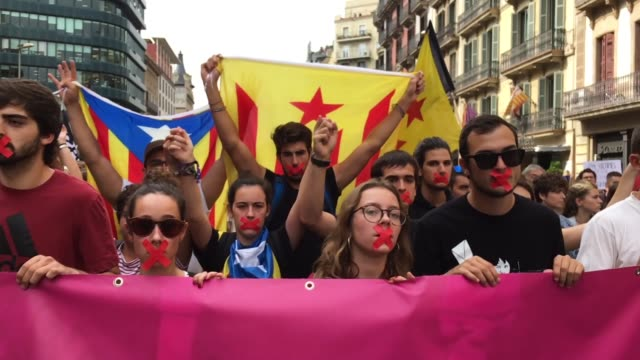 Students hold a silent protest on October 2 Barcelona Spain The Catalonian referendum vote took place on October 1 2017 in Barcelona Spain According...