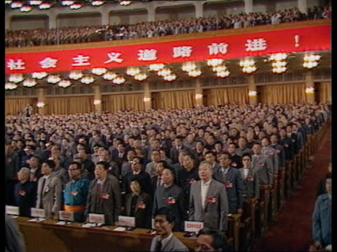 students hunger strike protest itn lib beijing great hall of the people ms serried ranks party delegates standing to attn ms top podium - tiananmen square stock videos & royalty-free footage