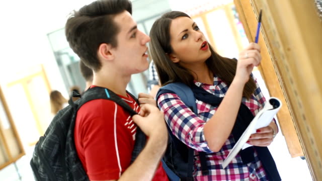 Students in a hallway.