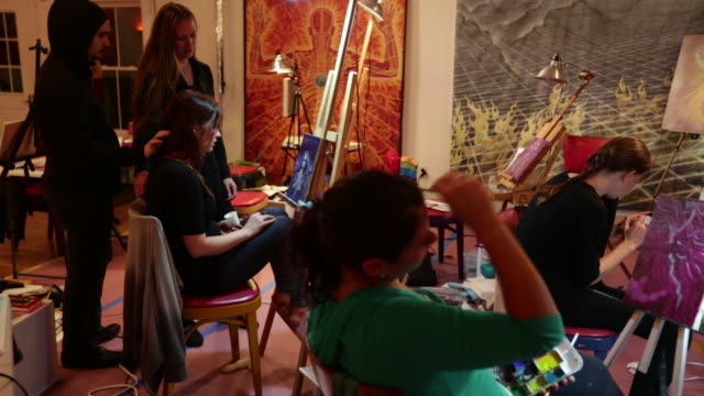 students in alex grey painting workshop - grey jacket stock videos and b-roll footage