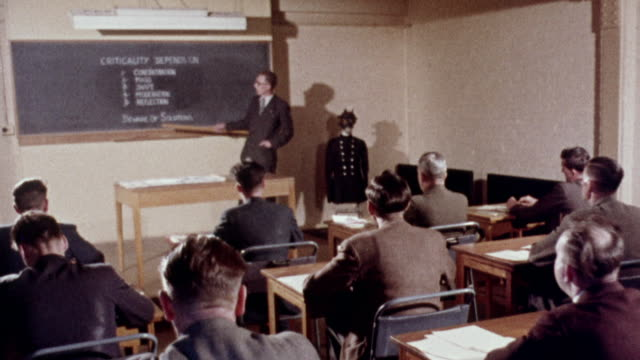 1957 montage students in classroom learning the conditions under which criticality of fissile material can occur / united kingdom - autorità video stock e b–roll