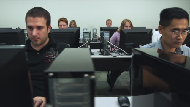 MS PAN Students in college computer lab, Orem, Utah, USA