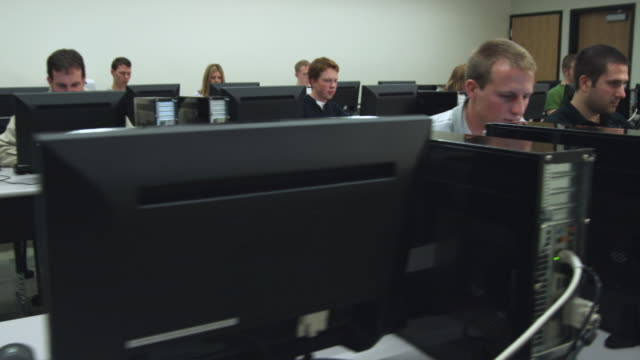 ms pan students in college computer lab, orem, utah, usa - orem utah stock videos & royalty-free footage