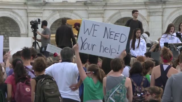 Students in DC gather outside the US Capitol as part of an international day of student protests aimed at pushing world leaders into action on...