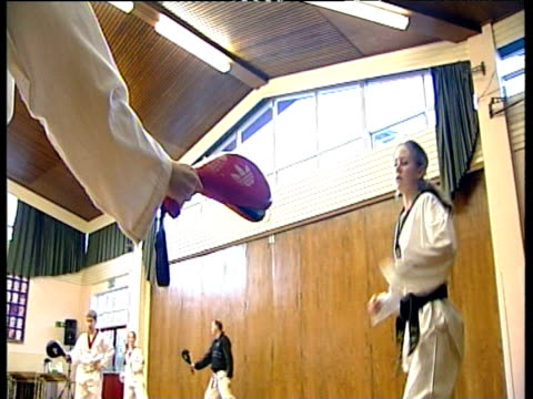 students in karate class leeds; feb 05 - karate stock-videos und b-roll-filmmaterial