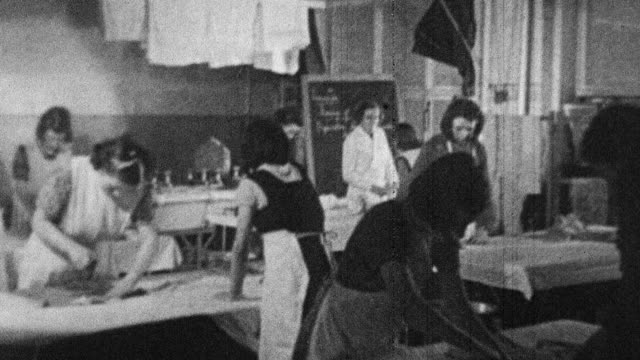 1944 montage students learning to do laundry at school / scotland, united kingdom - scotland stock videos & royalty-free footage