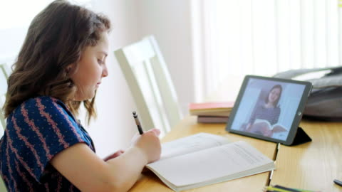 vídeos y material grabado en eventos de stock de estudiantes aprendiendo a través de la computadora en el hogar - maestro