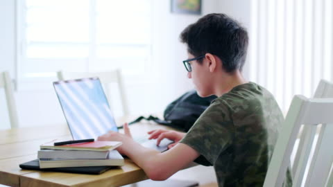 students learning via computer at home - teenage boys stock videos & royalty-free footage