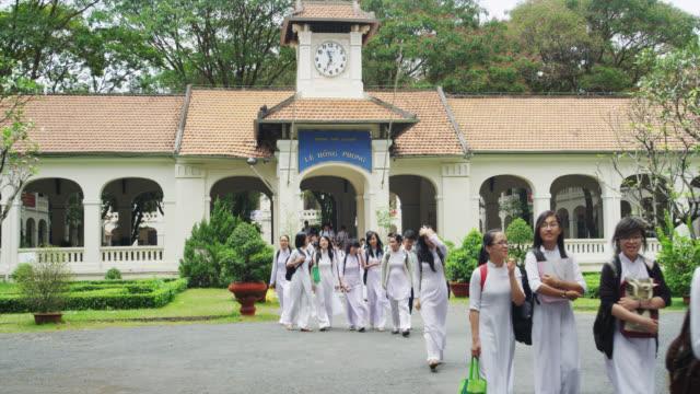 Students leaving the School for Lunch Break