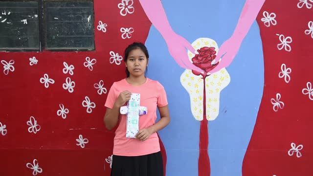 students of parijat academy showing a reusable cloth menstrual pad standing near a mural depicting women menstruations, after manufacture in her... - femininity stock videos & royalty-free footage