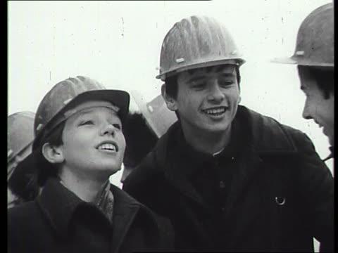 stockvideo's en b-roll-footage met students on chernobyl nuclear power plant construction site - kernramp van tsjernobyl