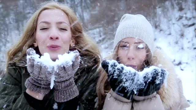 students on winter vacations have fun with snow - winter video stock e b–roll