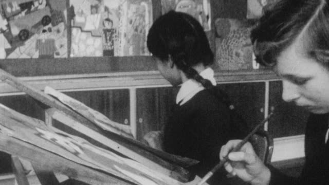 1962 montage students painting in art class at holland park school / kensington, london, england - female high school student stock videos & royalty-free footage