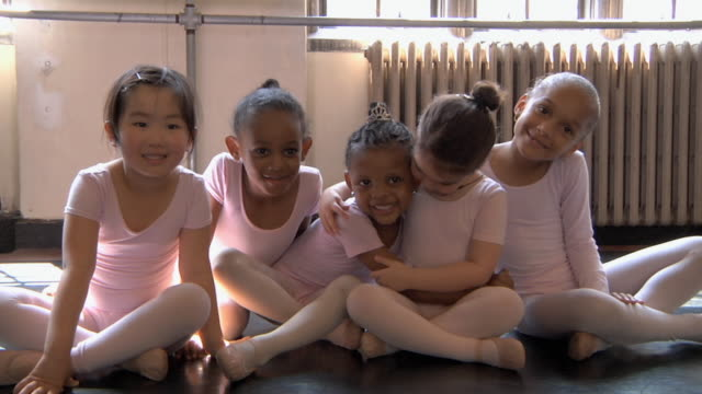 ws slo mo students (2-7) posing together during their ballet class / chicago, illinois, usa - barre stock videos and b-roll footage