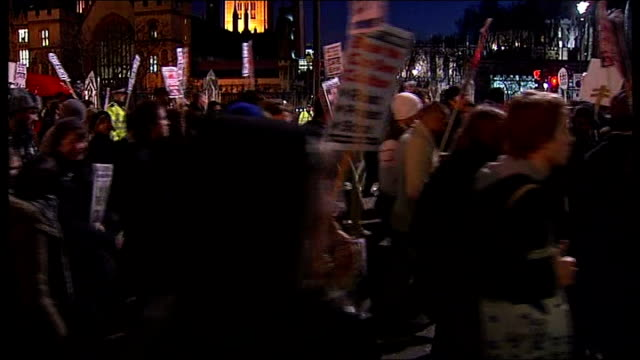 Students protest outside Parliament as vote taken on plans to scrap EMA ENGLAND London Westminster Houses of Parliament Crowd of student...