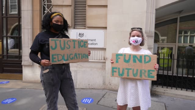 students protest outside the department of education demanding reforms in the wake of the a-level and gcse results fiasco on august 20, 2020 in... - person in education stock videos & royalty-free footage