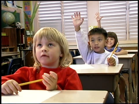students raising hands in classroom - human limb stock videos & royalty-free footage