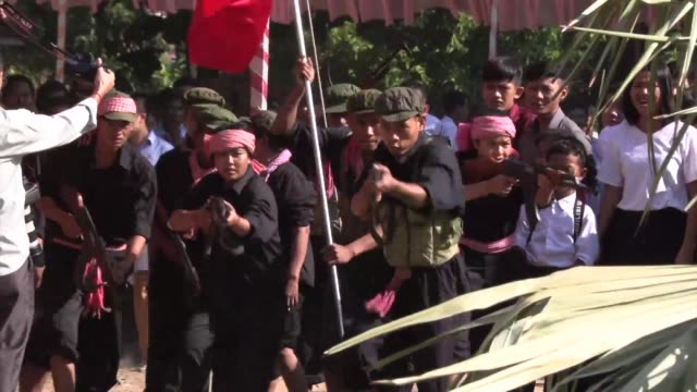 students reenact the horrors of the cambodian genocide on the annual day of remembranceto commemorate the two million people killed by the khmer... - maoism stock videos & royalty-free footage