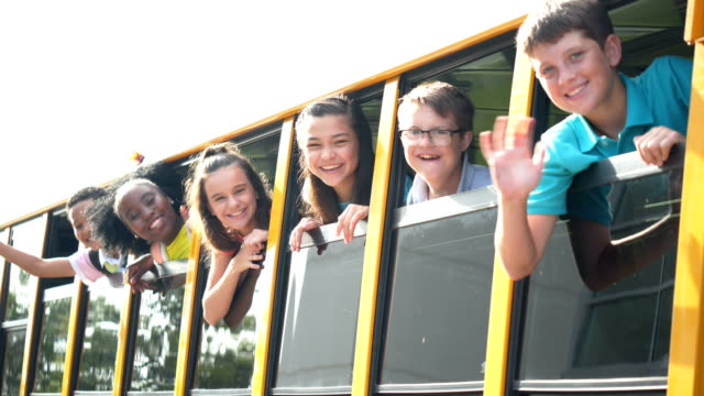 students riding school bus, boy with down syndrome - 12 13 years stock videos & royalty-free footage