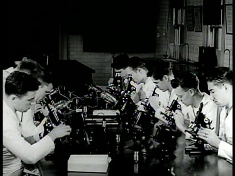 students sitting in biology classroom using microscopes student looking through microscope ms box of slides ms using microscope wwii - hospital corpsman点の映像素材/bロール