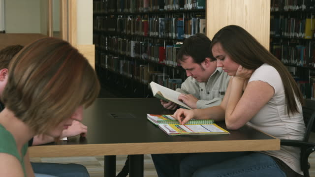 cu ds students studying at library, orem, utah, usa - orem utah stock videos & royalty-free footage