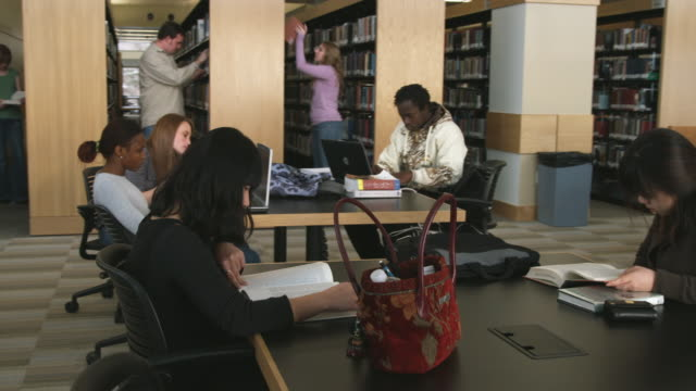 vidéos et rushes de ms ds students studying at library, orem, utah, usa - orem