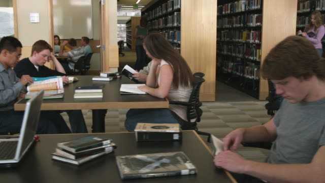 ms ds students studying at library, orem, utah, usa - orem utah stock videos & royalty-free footage