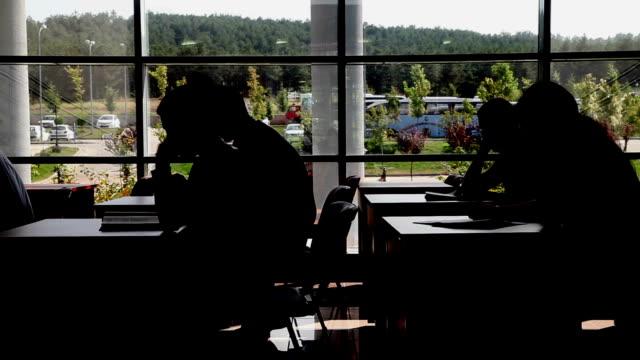 vídeos y material grabado en eventos de stock de estudiantes estudiando en la biblioteca - pasillo de entrada