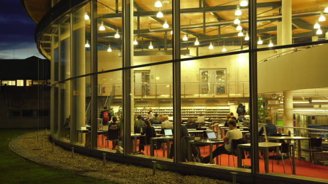 students studying in the library at night - library stock videos & royalty-free footage