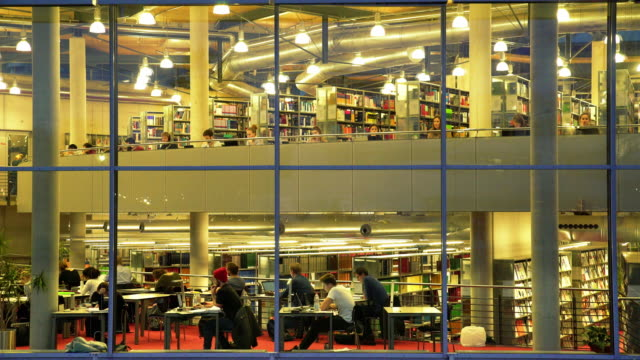 vídeos de stock, filmes e b-roll de students studying in the library at night - ensino superior