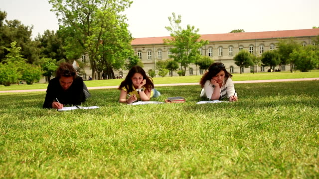 Students studying lessons at the campus