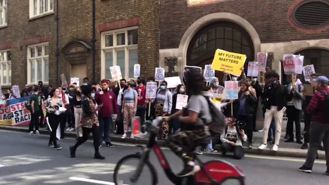 students take part in a protest outside the department for education in westminster, london, calling for the resignation of education secretary gavin... - general certificate of secondary education stock videos & royalty-free footage