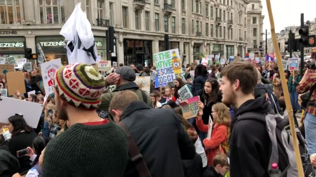 UK students take part in a strike for the climate crisis in Piccadilly Circus London as demonstrations are planned in towns and cities across the UK...
