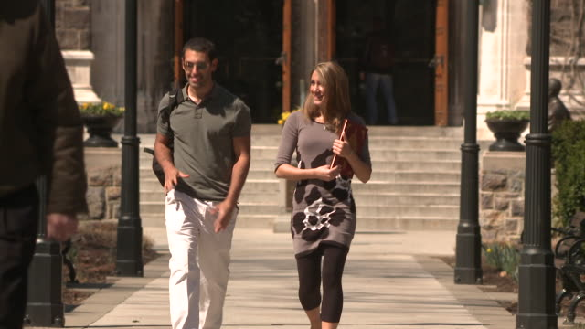 ms cu students talking while walking on campus path, bethlehem, pennsylvania, usa - see other clips from this shoot 1503 stock videos and b-roll footage