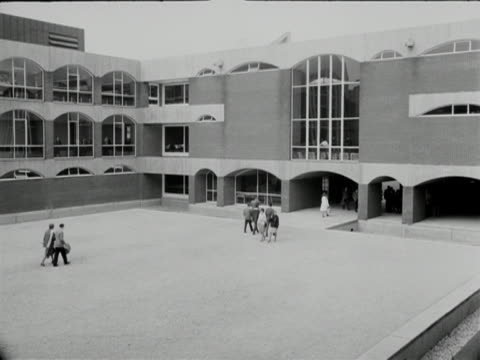 Students walk across a courtyard at Sussex University