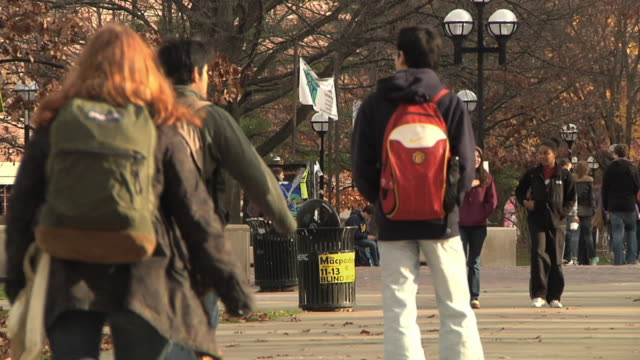 MS Students walking at University of Michigan campus / Ann Arbor, Michigan, USA