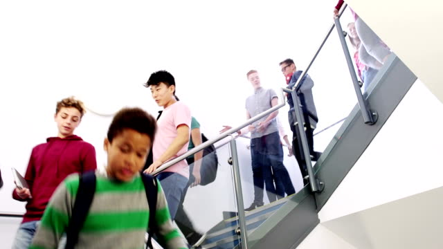 students walking down a school staircase - schoolboy stock videos and b-roll footage