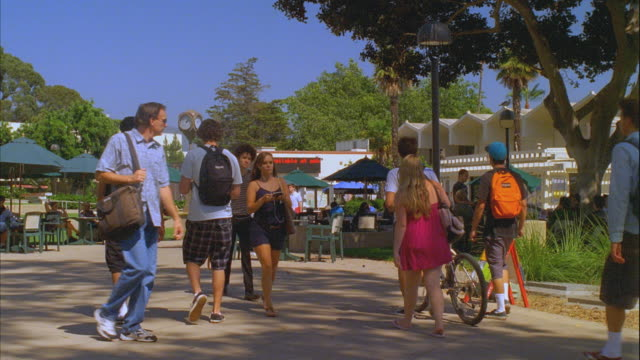 ms students walking in santa barbara city college campus / california, usa - santa barbara california stock videos & royalty-free footage