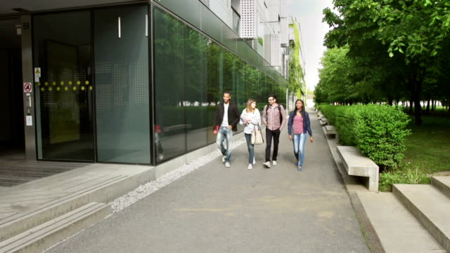 ls students walking into the university - building entrance stock videos & royalty-free footage