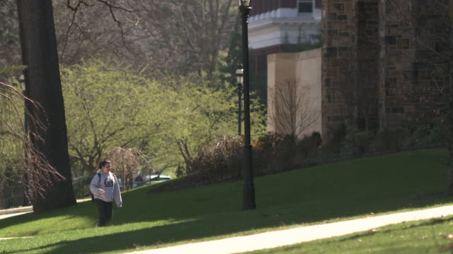 ms students walking through university campus, bethlehem, pennsylvania, usa - see other clips from this shoot 1503 stock videos and b-roll footage