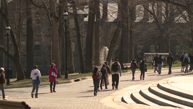 ws students walking through university campus, bethlehem, pennsylvania, usa - see other clips from this shoot 1503 stock videos and b-roll footage