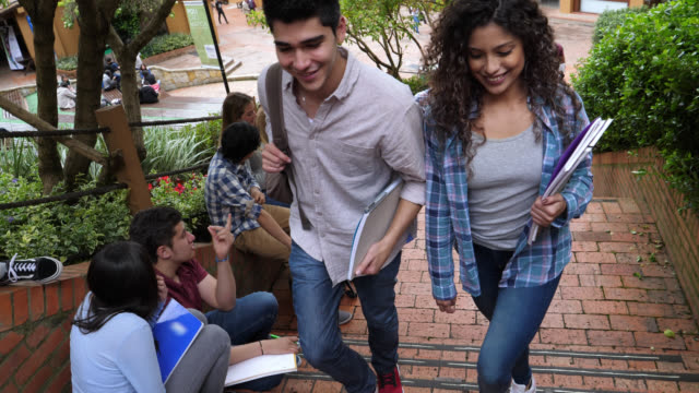 students walking up the stairs of the college campus while others are sitting on the sides - studente universitario video stock e b–roll